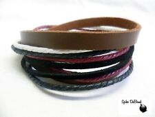 COOL RED, BROWN, WHITE ROPE & LEATHER POPPER/ CUFF SURFER PUNK BRACELET *NEW*