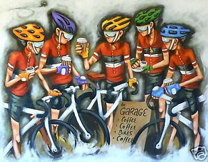 sport Cycling bikes art painting print poster canvas By andy baker COA modern