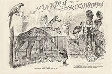 Gravure ancienne 1880  au jardin d'acclimatation