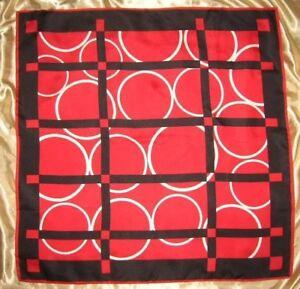 "USA Silk Scarf Black Red White Color Block 26"" Casual Corner Retro VinTage"
