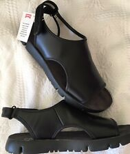 New CAMPER  Oruga Sandal Shoe,9/39,Leather,Velcro,Cut out,Black Sport Aster,NIB