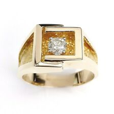 0.41 Carat  Diamond Mens Ring 14K Yellow Gold 8.1 Custom Made Brand New