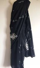 SAREE SARI LENGHA SALWAR KAMEEZ WRAP INDIAN BOLLYWOOD DRESS WEDDING Black