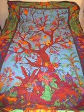 """Tree of Life Fabric Large Wall Art or Hobo Bed Cover Bright Colors 58"""" x 92"""""""
