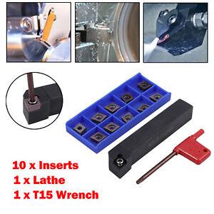10pcs CNC Metal Lathe Turning Tools Cutter Holder CCMT09T304 Carbide Inserts Set
