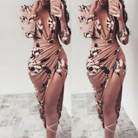 Womens Long Sleeve Floral Prom Party Dress Ladies Sexy Bodycon Evening Dresses