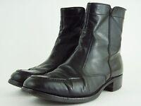 "FLORSHEIM Men's Size 8 - BLACK LEATHER SIDE ZIP ANKLE BOOTS - 6.5"" SHAFT"