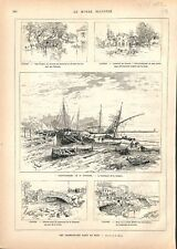 Inondation Saint-Raphaël & Cannes Croisette Quartier du Cannet 1882 ILLUSTRATION