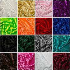 """Crushed Velvet Velour Fabric Material - Polyester - 150cm (59"""") wide, 16 Colours"""