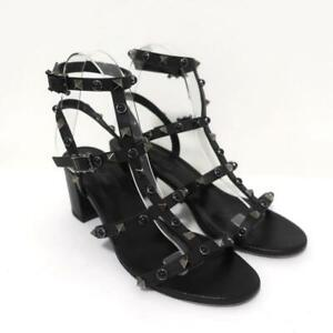 Valentino Rockstud Rolling Cage Sandals Black Leather Size 37.5 Open Toe Heel