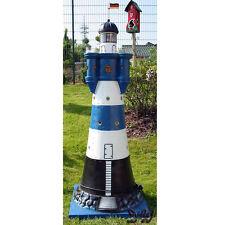 LEUCHTTURM BLAUER SAND blau weiß 150 cm DOPPELLICHT Garten Deko maritim ROTER