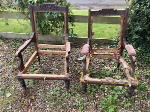 A Pair of Antique Armchairs for Upholstery Project
