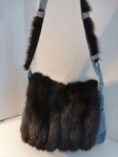 Vintage Brown Mink & Denim Custom Made Shoulder Bag By Christina Roselle, USA