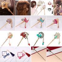 Fashion Crystal Pearl Hair Hair Stick Hairpin Flower Leaf Chopsticks Chignon Pin