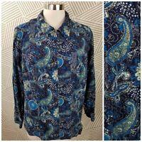 CJ Banks Pinwale Corduroy Velvet Jacket Plus Size 1X 16/18 Paisley Full Zip Up