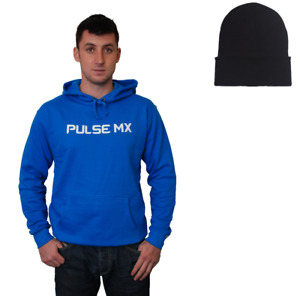 PULSE SAPPHIRE BLUE MOTOCROSS MX BMX MTB HOODIE + FREE BEANIE HAT!