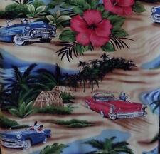 Hawaiian Shirt Aloha Hibiscus Dogs Vintage Convertibles XL