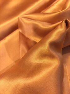 "60% Silk 40% Cotton SATIN SATEEN All Natural Fabric 1yd 8"" Orange Gold25 Lining"