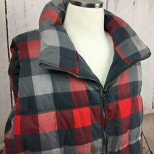 OLD NAVY Womens Sz 4X Plus Jacket Puffer Vest Red Gray Check Plaid NWT
