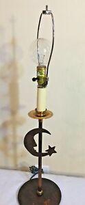"""Primitive Moon Table Lamp Metal 29"""" Art Deco Cabin Rustic"""