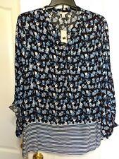 nwt black blue floral striped top tunic blouse top button plus 22W 24W cato