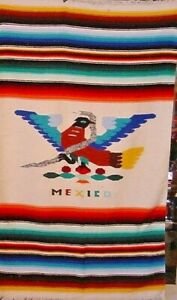EAGLE AND SNAKE VINTAGE MEXICAN BLANKET RUG 1940S EAGLE AND SNAKE