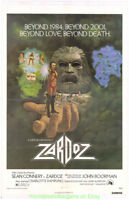 ZARDOZ MOVIE POSTER Original 1974 Linenbacked 27x41 Fine  Condition SEAN CONNERY
