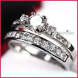 18K WHITE GOLD GF 1CT TRILOGY SIGNITY DIAMOND SOLID ENGAGEMENT WEDDING RINGS SET