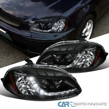 For Honda 96-98 Civic 2/3/4Dr Black Projector Headlights Head Lamps w/ LED DRL