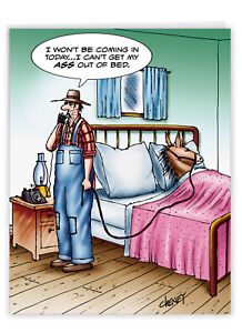 1 Jumbo Funny Get Well Greeting Card - Jumbo A$$ Out Of Bed Get Well Card J1365