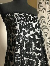 Polyester Spandex Mesh Laser Cut Embossed Floral     1 Yard Pre Cut    Black