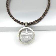 Silver Chrome Round Love Heart Pendant Womens Braided Brown Leather Necklace