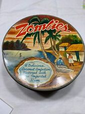 """Vtg 60s Zombies Metal Tin 6x4"""" Tropical Coconut Sea Village Scene Olive Can Co"""