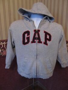 Gap Kids Gray Long Sleeve Zipper Front Hooded Sweatshirt~Size Large~VG Shape!