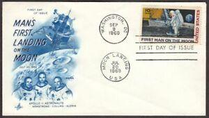 1969 First Man on the Moon Sc C76 Apollo 11 FDC ArtCraft blue cachet variety
