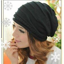 Winter Unisex Oversized Slouch Cap Plicate Beanie Baggy Black Hat Knit Ski New