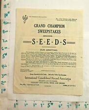 1916 Grand Champion Sweepstakes Brand Seeds Brochure ICRA Elmira New York