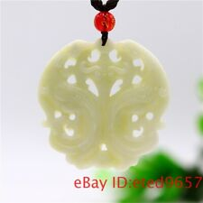 Jade Phoenix Pendant Necklace Amulet Double-sided Natural Carved Jewelry Gifts