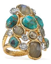 Alexis Bittar  Metallic Kiwi Cluster Labradorite Chrysocolla Ring 0282 Size 7