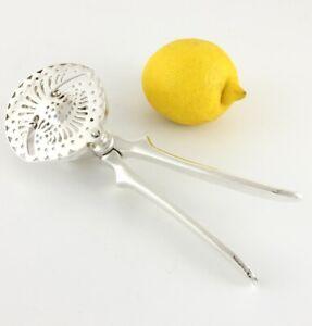 Silver Plate Lemon Squeezer Juicer. Antique Citrus Press Cocktail Strainer c1930