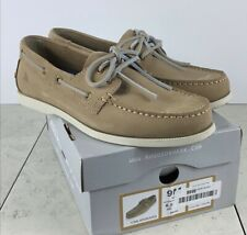 Rugged Shark Leather Boat Shoes Slip On Taupe Size 9 FAST SHIPPING