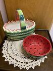 Watermelon+Fruit+Basket+and+Bowl%C2%A0+%7E+ceramic+%7E+custom+lot+of+2%C2%A0
