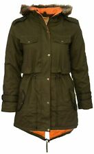 Size 18 Ladies New Khaki Fur Trim Hood Fishtail Quilt Lined Warm Winter Coat