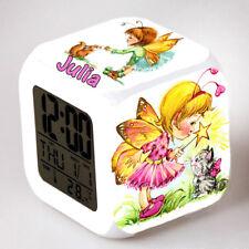 Reveil cube led lumière nuit clock fée fille personnalisé prénom réf 26