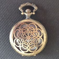 POCKET WATCH NO.23 BRONZE  COLOURED HALF HUNTER  FILIGREE DESIGN