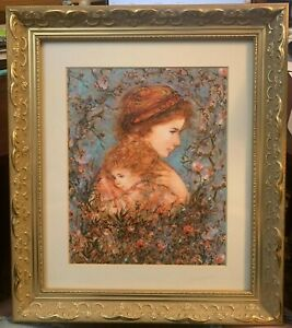 Edna Hibel Print Eve & Child From The Laurels Collection w/ Cert of Authenticity