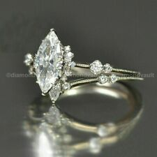 Certified 3.50 Ct Marquise Diamond Vintage Engagement Ring Solid 14k White Gold
