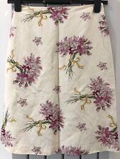 L. K. Bennett Skirt Silk Linen Floral Size 8 Ivory Lined Quality Lightly Used