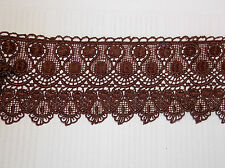 1m 11cm  brown embroidered guipure lace bridal wedding dress prom trim veil net