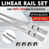 2x SBR20-1200mm 20MM Linear Slide Guide Bearing Rail Shaft w/4Pcs SBR20UU Blocks
